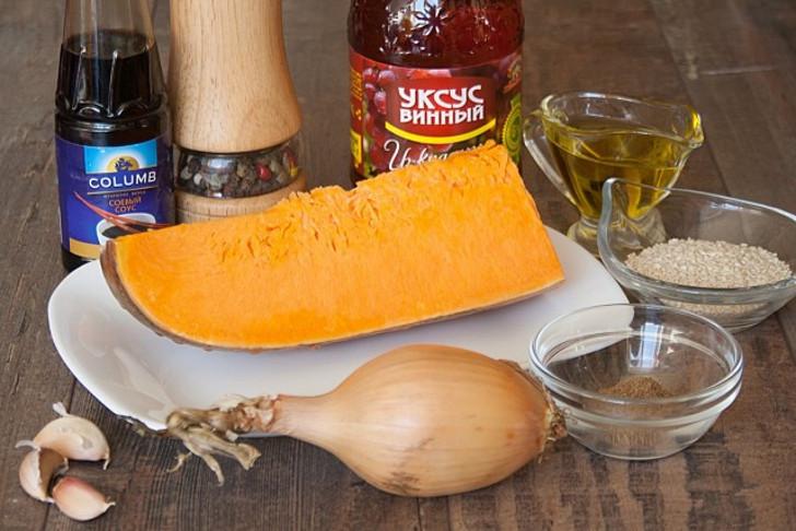 Ингредиенты для тыквы по-корейски