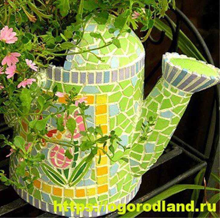 Декор старой посуды битой керамической плиткой