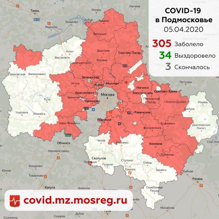 Ситуация с распространением коронавирусной инфекции в Подмосковье на 5 апреля 2020 г.