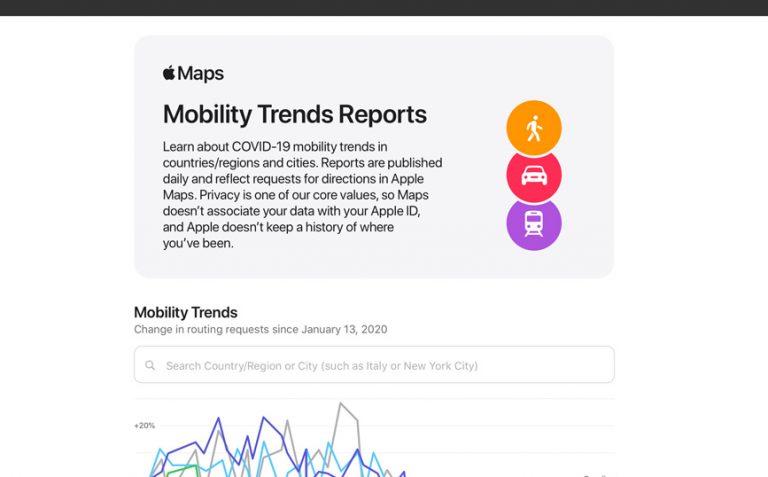 Apple открыла доступ к статистике передвижения людей