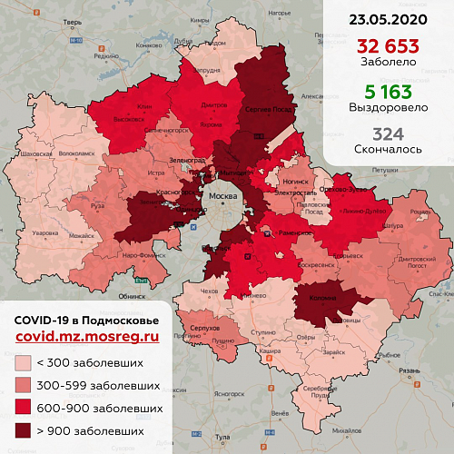 Информация по ситуации с коронавирусом в Подмосковье на 23 мая