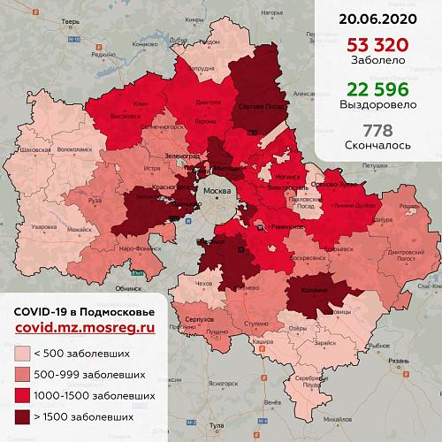 Сводка заболевания коронавирусной инфекцией в Подмосковье на 20 июня